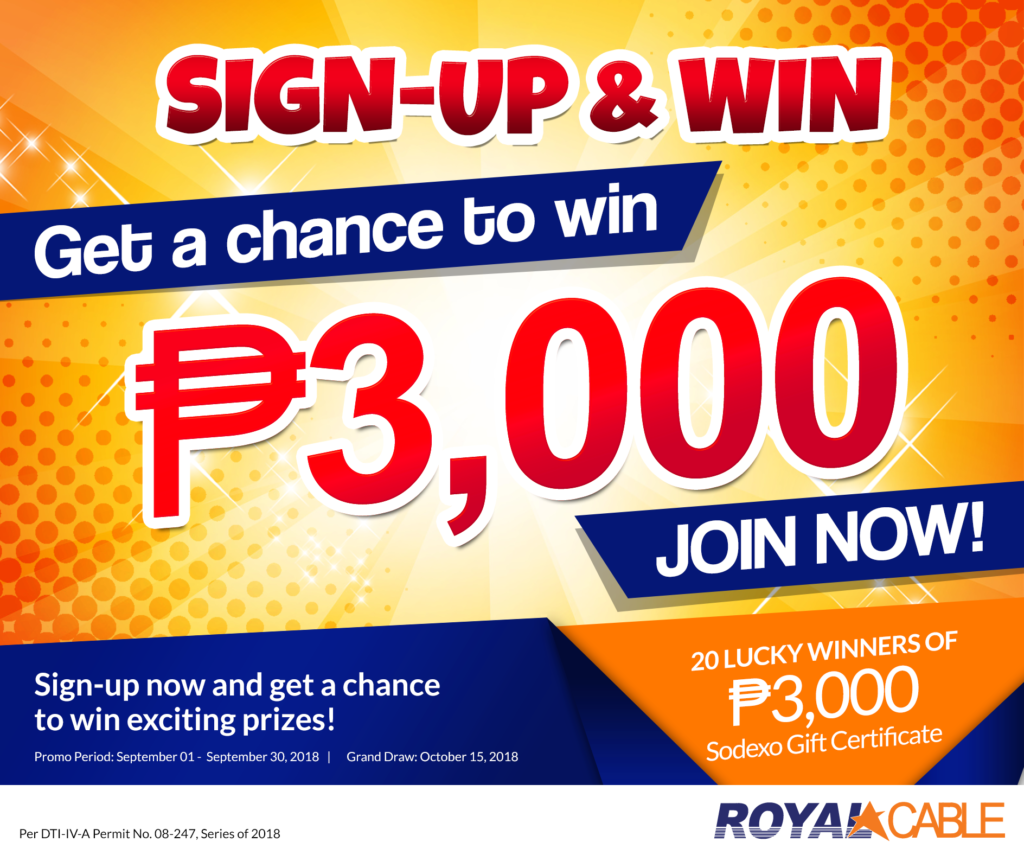 4b01cc909 Sign-up   Win Promo – NEW! – Royal Cable